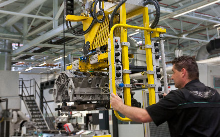 Man operating technical machinery